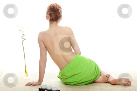 Spa stock photo, Portrait of beautiful woman before spa treatment. Isolated   by Piotr_Marcinski