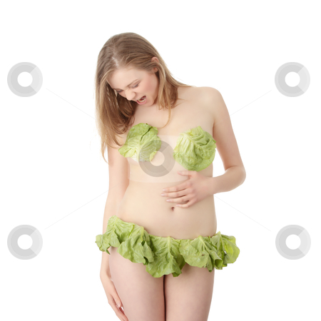Vegetarian blonde stock photo, Sexy vegetarian girl in lingerie made from salad, over white background by Piotr_Marcinski