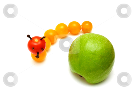 Tomato caterpillar with a green apple stock photo, tomato caterpillar with a green apple isolated by vetdoctor