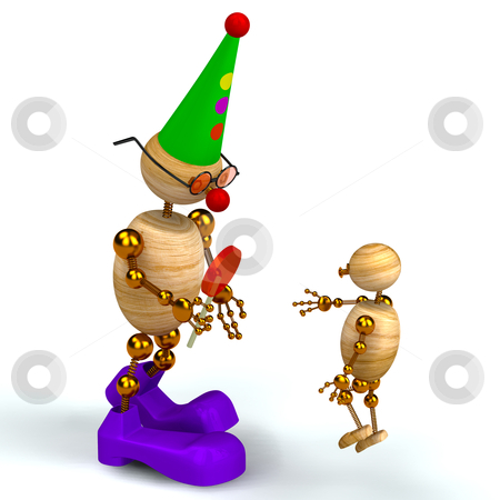 3d wood man clown with kid stock photo, 3d wood man as a clown with kid by vetdoctor