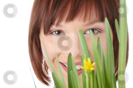 Spring girl stock photo, Spring girl with flower portrait, over white background by Piotr_Marcinski