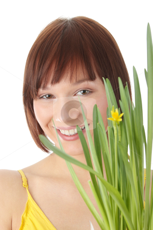 Spring girl stock photo, Spring girl with flower portrait, over white background by Piotr_Marcinski