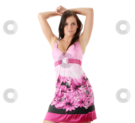 Girl posing in ping dress stock photo, Fashion girl posing in ping dress on white background - portrait  by Piotr_Marcinski