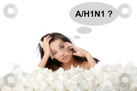 Girl with flue stock photo, Young woman in lot of tissues around, ill, isoalted on white background by Piotr_Marcinski