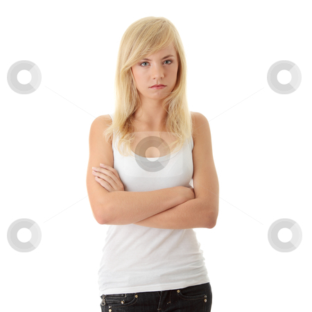Angry Teenager stock photo, Close Up Shot of a Angry Teenager, isolated on white background   by Piotr_Marcinski
