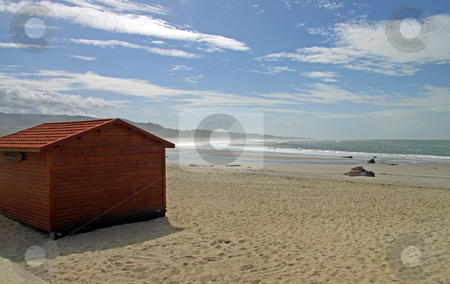Wooden cabin on beach stock photo, Wooden cabin in northen portuguese beach by Neonn