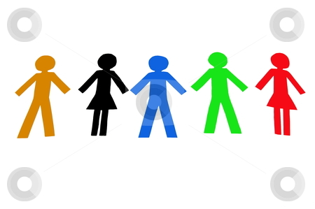 Diverse People stock photo, Diverse colorful people isolated on a white background by Gunnar Pippel