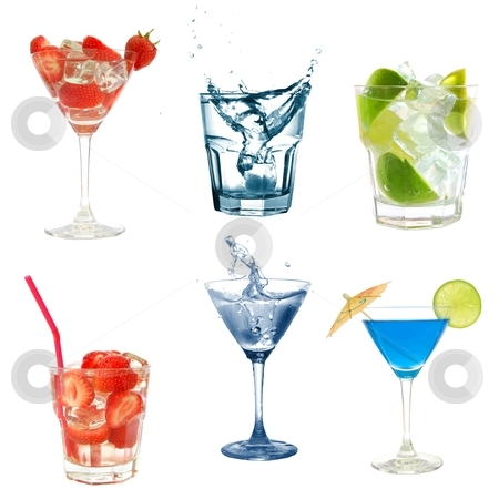 Cocktail collection stock photo, drink or cocktail collection isolated on a white background by Gunnar Pippel