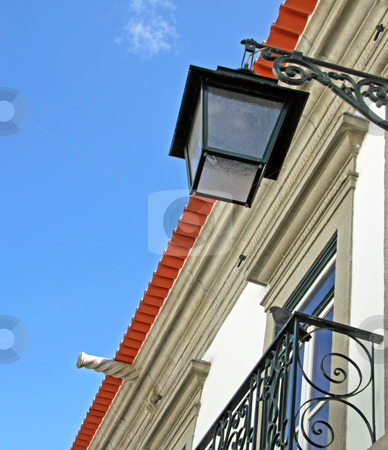 Detail of a street lamp in a typical house stock photo, Detail of a street lamp in a typical portuguese house by Neonn