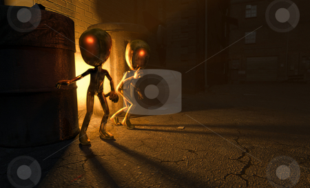 Alien visitors stock photo, Two little aliens cautiously explore earthling ally way by Jesse-lee Lang