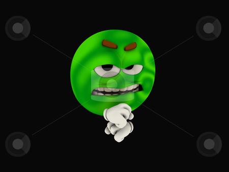 Emoticon stock photo, 3d illustration of a green emoticon cartoon character by Jesse-lee Lang
