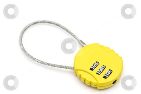 Yellow combination lock stock photo, Yellow combination lock isolated on white background   by Ingvar Bjork