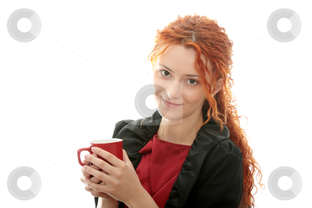 Beautiful deaf woman stock photo, Beautiful deaf woman drinking coffee isolated on white by Piotr_Marcinski