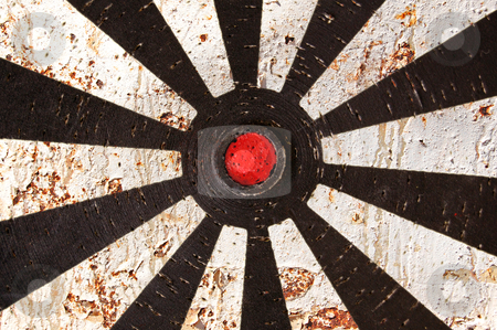 Rusty target stock photo, Abstract background. Old dartboard target and rusty metal texture. by sirylok