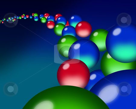 A flow of translucent red, green & blue orb droplets stock photo, A flow of red, green & blue orb droplets through a blue ether. by J.R. Bale