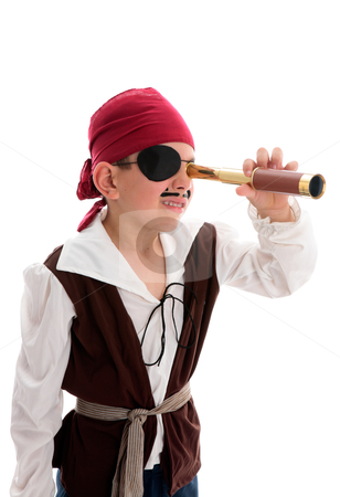 Pirate looking through scope stock photo, A young boy pirate looking through a monoscope in search of treasure or ships to plunder.  White background. by Leah-Anne Thompson
