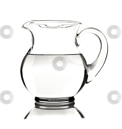Glass water pitcher with water on white background stock photo, Glass water pitcher with water on white background with space for text by tish1