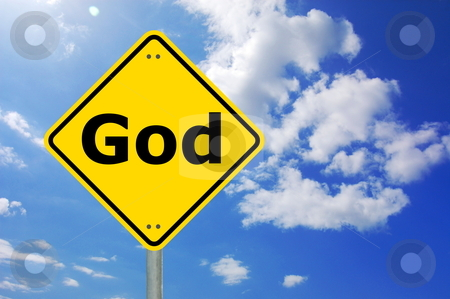 God and heaven stock photo, good and heaven concept with yellow road sign                                     by Gunnar Pippel