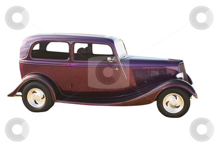 Purple hotrod sedan stock photo, deep purple hotrod with polished mags and suicide doors by Lee Barnwell