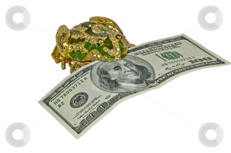 Money in a frog stock photo, money in a frog  $ 100 bill isolated on a white background by Shevket