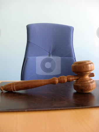 Court's room stock photo, Old wooden gavel ,blue chair and court desk  by Ingvar Bjork