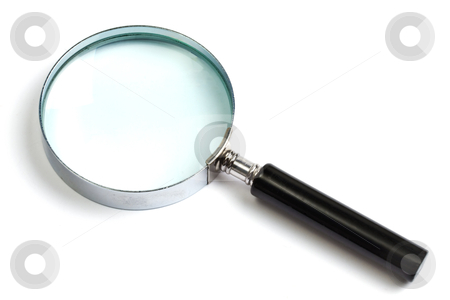 Magnifying glass on white background stock photo, Magnifying glass on white background closeup  by Ingvar Bjork