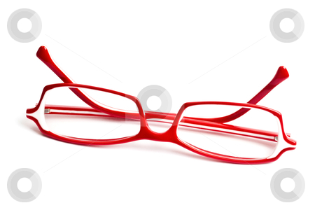 Red glasses stock photo, Red glasses isolated on white background   by Ingvar Bjork