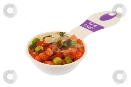 Pico de gallo measured stock photo, measuring cup of pico de gallo isolated on white by Lee Barnwell
