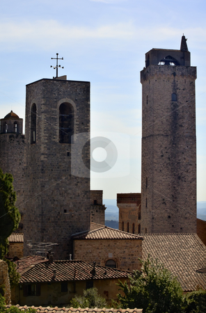 Medieval Stone Towers San Gimignano Tuscany Italy stock photo, Two Medieval Stone Towers Bells San Gimignano Tuscany Italy by William Perry