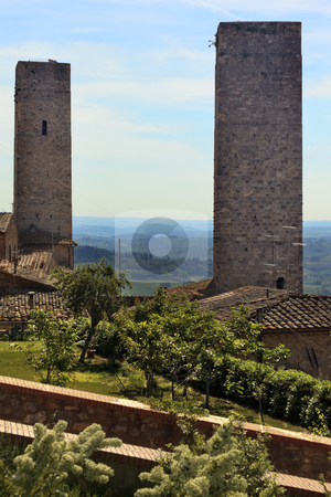 Two Medieval Stone Towers San Gimignano Tuscany Italy stock photo, Two Medieval Stone Towers San Gimignano Tuscany Italy by William Perry