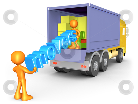 Movers stock photo, 3d people unloading a cargo truck . by Konstantinos Kokkinis