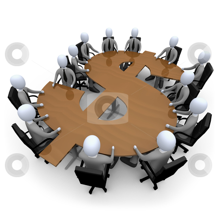 Financial Meeting stock photo, 3d people having a meeting on a dollar shaped table. by Konstantinos Kokkinis