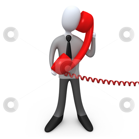 Phone Support stock photo, 3d business person holding a large red phone . by Konstantinos Kokkinis