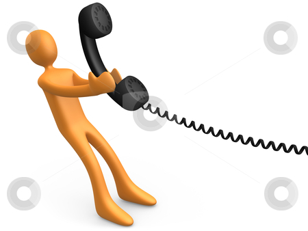 Desire To Communicate stock photo, 3d person pulling a large phone handset . by Konstantinos Kokkinis