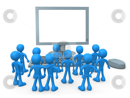 Presentation stock photo, Tiny 3d people watching something on a computer screen . by Konstantinos Kokkinis
