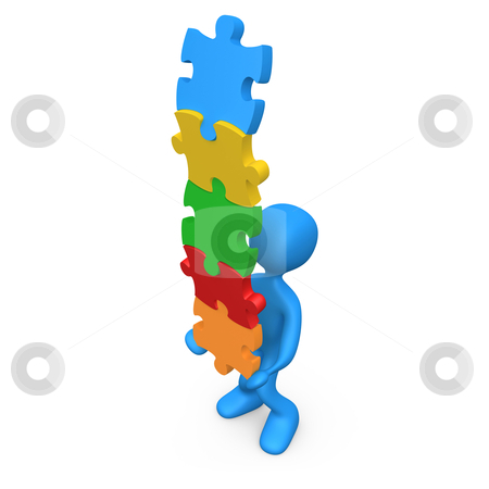 Balance stock photo, 3d person trying to balance a pile of puzzle pieces. by Konstantinos Kokkinis
