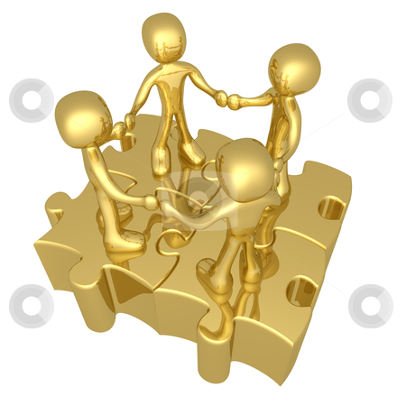 Unity stock photo, 3d people holding hands while standing on connected puzzle pieces. by Konstantinos Kokkinis