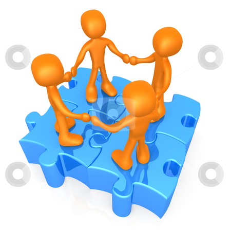 Unity stock photo, 3d people holding hand while standing on connected puzzle pieces. by Konstantinos Kokkinis