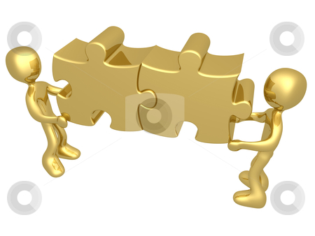 Working Together stock photo, 3d people carrying two merged puzzle pieces . by Konstantinos Kokkinis