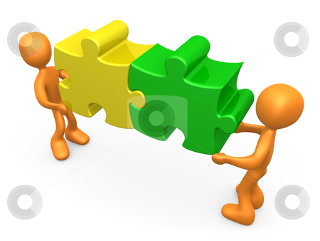 Working Together stock photo, 3d people carrying two connected puzzle pieces . by Konstantinos Kokkinis
