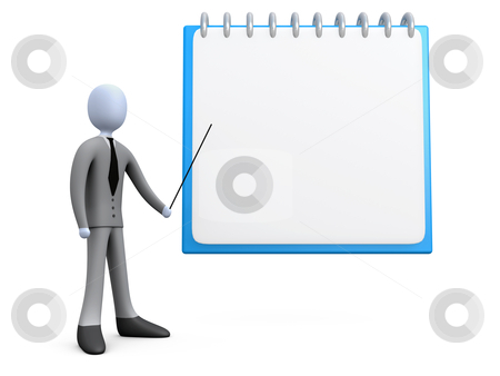 Business Schedule stock photo, 3d business person showing a clipboard . by Konstantinos Kokkinis