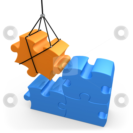 Constructive Solutions stock photo, 3d puzzle piece being put into place . by Konstantinos Kokkinis
