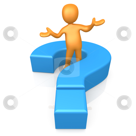 Ask A Question stock photo, 3d person standing in the middle of a large question mark. by Konstantinos Kokkinis