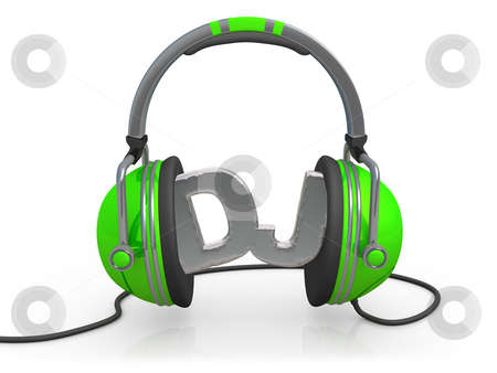 Deejay stock photo, 3d headphones with the word DJ between them . by Konstantinos Kokkinis