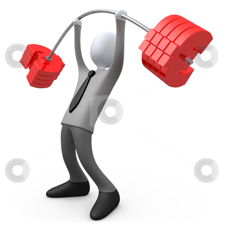 Financial Weight stock photo, 3d business person lifting euro-shaped weights . by Konstantinos Kokkinis