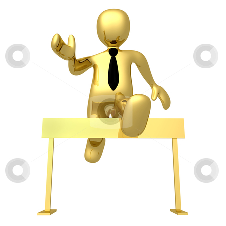 Pass The Obstacles stock photo, 3d businessman jumping over a hurdle by Konstantinos Kokkinis