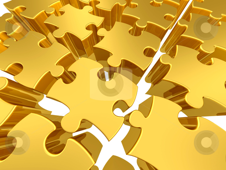 Gold 3d puzzles stock photo, Background full of multicolored puzzle pieces . by Konstantinos Kokkinis
