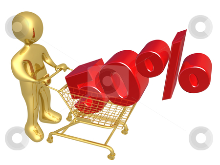 50% Discount stock photo, 3d person pushing a shopping cart with a 50% 3d text on it. by Konstantinos Kokkinis