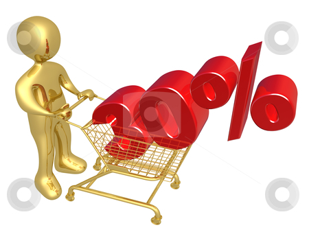 30% Off stock photo, 3d person pushing a shopping cart with a 30% 3d text on it. by Konstantinos Kokkinis