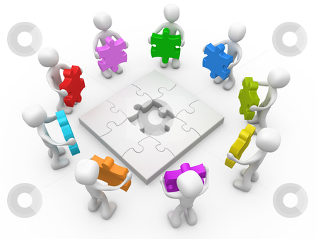 Options stock photo, 3d people standing around a jigsaw puzzle holding puzzle pieces in various colors. by Konstantinos Kokkinis